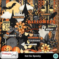 Not So Spooky Kit Digital Scrapbook Paper, Flag Banners, Paint Shop, Photoshop Elements, Holidays Halloween, Pumpkin Carving, Photo Book, Design Elements, Scary
