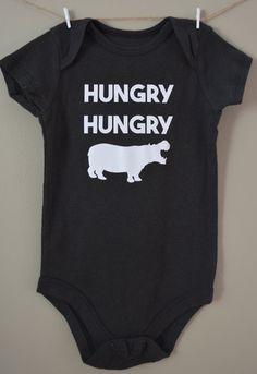 Hungry Hungry Hippo baby onesie Cute funny by EclecticBadger