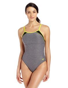 Speedo Women's Heathered Clip Back One-Piece Swimsuit  Speedo Women's Heathered Clip Back One-Piece Swimsuit Speedo equals better fit, performance, quality, and innovation, the heathered clipback swimsuit is a bold athletic colorblock style from our fitness category and has removable soft cup construction, the suit has adjustable clip back straps to best fit your body shape and workout and is ideal for lap swimming, water aerobics, pool play, or any water activity, look and feel your..