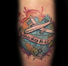 Watercolor Wanderlust Airplane Mens Forearm Tattoo