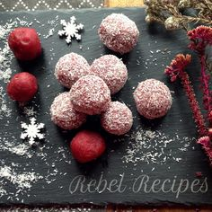 @rebelrecipes yummy coconut & almond Christmas balls... Here's the recipe; 1 cup ground almonds,  1/2 cup desiccated coconut, 2 medjool dates, 1/4 cup melted coconut oil, 1 tsp almond essence, 3 tbsp beetroot juice, Pinch Himalayan salt  Blitzed, and rolled in more desiccated coconut