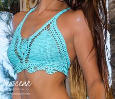 Handmade Crochet Bikini  This Crochet bikini top is handcrafted with microfiber elastic blend yarn so you can get this Bikini top wet and it stays in place.  You dont need lining - it is not see through! For ordering I need your size of bra or measurements in cm or inches would be perfect  You can see available colors at the last photo !!! Its one of a kind, 100% handmade custom crochet bikini created by me. Contact me for other colors and sizes!  Care Instructions for swimwear:  Rinse well…
