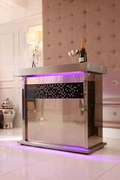Stainless steel home bar with LED remote control