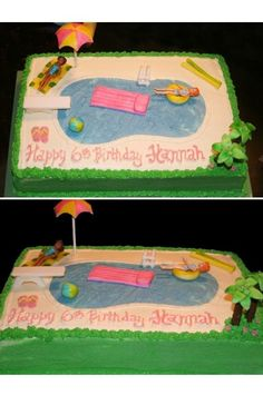 Birthday cake for 6 yr old- Pool Party. Buttercream with all fondant and candymelt accents. Dolls are Polly Pockets. Pool Birthday Cakes, Pool Party Cakes, Pool Cake, Sleepover Birthday Parties, Lego Birthday, Birthday Cake Girls, Pool Parties, Summer Birthday, Birthday Ideas