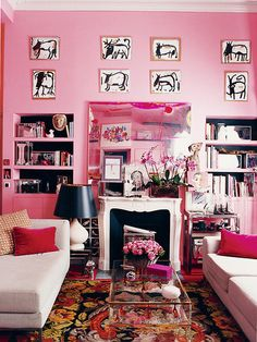 Pink and red interiors done right; gorgeous pink and red interiors combinations; pink and red interior design; Interior Exterior, Home Interior, Murs Roses, Interior Inspiration, Design Inspiration, Design Ideas, Bachelorette Pad, Casa Real, Pink Houses