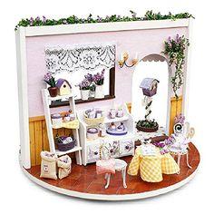 Youku Wooden Handmade Dollhouse Miniature DIY Kit- Lavend...