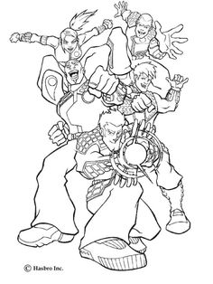 Here a coloring page of Action Man Force heroes, action man with this teammates. Discover all your favorite free printable super hero coloring pages on hellokids.com