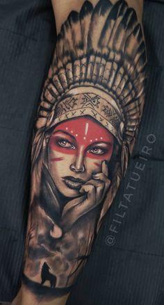 Native Indian Tattoos, Indian Girl Tattoos, Indian Skull Tattoos, Skull Girl Tattoo, Native American Tattoos, Girl Arm Tattoos, Arm Tattoos For Guys, Chicano Tattoos Sleeve, Tattoos 3d