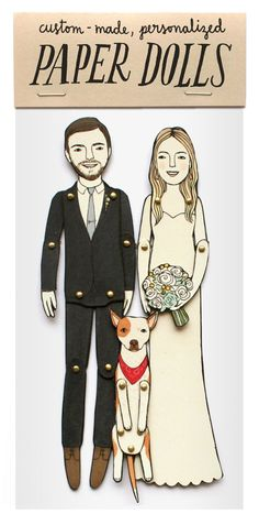 personalized wedding paper dolls for wedding, engagement, or anniversary gifts