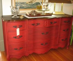 Miss Sophia and I agree that we love RED, especially when a project turns out this lovely! A vintage Bassett piece, can't you see this as a tv stand or a double sink vanity or a sideboard...or even a fab…