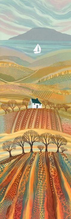 by Rebecca Vincent Northumberland-England ( ARTFINDER: Promised Land by Rebecca Vincent - The very tall format of this piece gave me the scope to include all my favourite landscape elements: the sea, the hills, valleys and trees. I used to draw hi. Landscape Quilts, Landscape Art, Art And Illustration, Doodle Drawing, Henri Rousseau, Landscape Elements, Naive Art, Art Plastique, Painting Inspiration