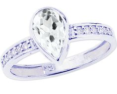14K White Gold Bezel-set Pear Shaped White Topaz and Diamond Engagement Ring