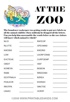 At the Zoo word scramble : Printables for Kids – free word search puzzles, coloring pages, and other activities