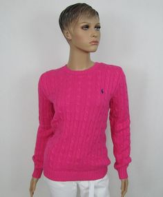 Ralph Lauren Sport womens sweater crew neck cable knit cotton size ...