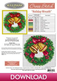 Winter Collection Holiday Wreath; free cross stitch pattern from Sullivans