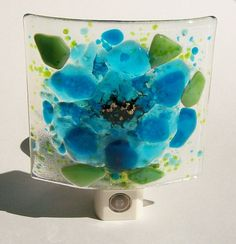 Fused Glass Turquoise Blue Flower Night Light by CDChilds on Etsy, $26.00