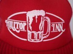 Vintage 70s HILLTOP INN Frosty Beer Mug RED Mesh Trucker Cap Hat One Size Adjust