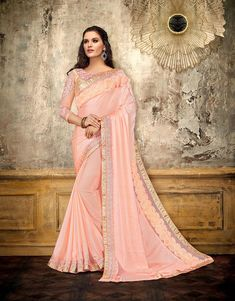 Satin georgette party wear saree with brocade blouse pink color. Stylish saree party wear in thread and zari embroidery and party wear saree comes with a designer blouse. Peach Saree, Pink Saree, Satin Color, Pink Color, Color Art, Saris, Burberry, Prada, Nike Shoes