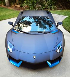 Satin Grey Lamborghini Aventador with Azure Blue and Carbon Fiber trims