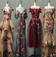 Someone please tell me some stuff about these gorgeous dresses! Who are they by, when are they from, etc… Someone please tell me some stuff about these gorgeous dresses! Beautiful Gowns, Beautiful Outfits, Simply Beautiful, Pretty Outfits, Pretty Dresses, Flowery Dresses, Vintage Dresses, Look Fashion, Fashion Design