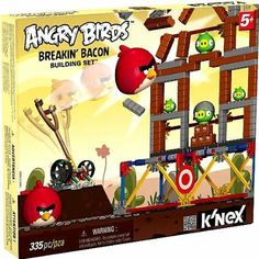 With the Breakin' Bacon building set, you can actually build and destroy a level from the #Angry Birds game! Launch the Big Red Bird to destroy the evil pigs. Includes a working launcher just like the game, enough parts to build and knock down, and TNT boxes.  #toys #games #KNEX #Angry Birds #Angry #Bird #gift #pinoftheday #spring