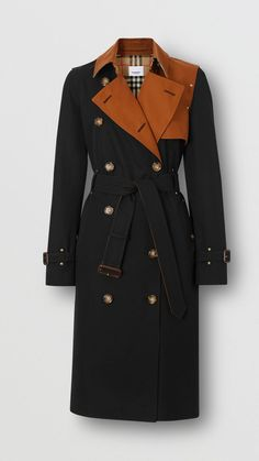 Two-tone cotton gabardine trench coat in black - women burberry united states. Trench Coat Outfit, Burberry Trench Coat, Trench Coats, Women's Coats, Hot Pink Fur Coat, Coats For Women, Jackets For Women, Black Overcoat, Motif Vintage