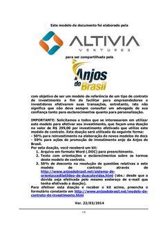Modelo de Contrato de Investimento por Opções - Altivia Ventures para Anjos do Brasil by Cassio Spina via slideshare