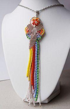 Micro macrame pendant Butterfly Rainbow OOAK by MartaJewelry