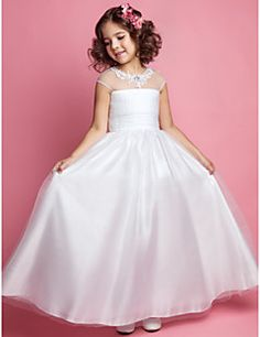 Lanting Bride ® A-line / Princess Floor-length Flower Girl Dress - Tulle Sleeveless Jewel with Appliques / Beading