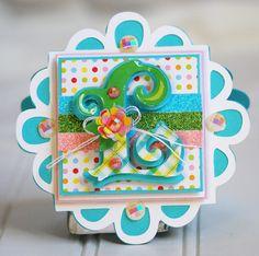 Cheerful monogram card using the Cricut! #Fontopia #Paper Trimmings #L