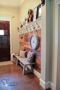 Goodall Goodall Ortega Plank Wall DIY Entryway, this would be awesome by the garage door! - A Interior Design Room Deco, Shanty 2 Chic, Plank Walls, Wood Walls, Home And Deco, Entryway Decor, Entryway Ideas, Door Entryway, Garage Entry