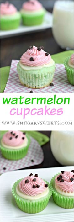 I think the mistakes with this cake were me rather than the recipe, nevertheless I will not be making this cupcake again. Watermelon Cupcakes: nobody will know these started from a boxed mix! Super cute and fun! Cupcake Recipes, Baking Recipes, Cupcake Ideas, Just Desserts, Delicious Desserts, Mini Cakes, Cupcake Cakes, Yummy Treats, Sweet Treats
