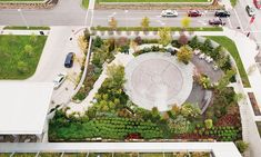 The healing garden was designed by Visionscapes Landscape Architects for University Hospitals Seidman Cancer Center in Cleveland, Ohio. The labyrinth is heated, enabling year-round walking. Photo by Kevin Reeves.