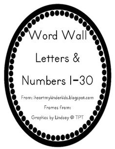 Display these letters on your Word Wall. Love the circular design with Penmenship Print font. Also included numbers 1-30. These numbers can be used in a variety of ways. If you assign numbers to your students these would be perfect for chairs, cubbies, pocket chart games too, etc.