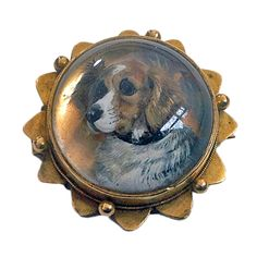 Reverse Intaglio Crystal  Essex Crystal Dog Brooch Locket C.1880