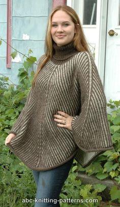 ABC Knitting Patterns - Reversible Brioche Poncho.