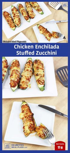 AMAZING Low Carb Chicken Enchilada Stuffed Zucchini - just net carbs and oh-so-moreish. Diabetic Recipes For Dinner, Diabetic Meal Plan, Diabetic Snacks, Healthy Snacks For Diabetics, Mexican Food Recipes, Real Food Recipes, Diet Recipes, Chicken Recipes, Cooking Recipes