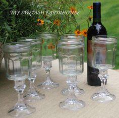 Set of Bonne Maman Upcycled Jelly Jar Canning Wine Glasses Rustic Barn Wedding etsy. Wine Glass Charms, Mason Jar Wine Glass, Glass Bottles, Redneck Wine, Jelly Jars, Sunday School Crafts, Canning Jars, Mason Jar Crafts, Rustic Barn