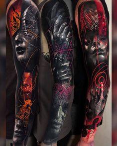 Neon Tattoo, Full Tattoo, Full Arm Tattoos, Arm Sleeve Tattoos, Dope Tattoos, Dark Tattoo, Badass Tattoos, Great Tattoos, Color Tattoo