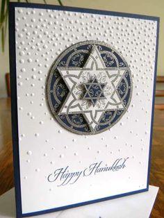 CARD KIT Set of 4  Handstamped  STAR OF DAVID Greeting Cards HAPPY HANUKKAH #Unbranded