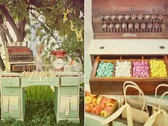 Adorable wedding candy table. Love the vintage dresser/desk!!