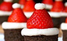 Santa hat brownies--too cute!