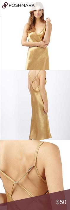 Two Strap Satin Midi Dress Gold Two Strap Satin Midi Dress Topshop Dresses Midi