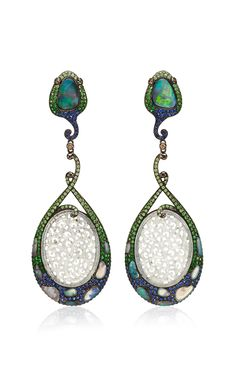 Opal And Jade Earrings by Wendy Yue for Preorder on Moda Operandi