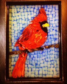 Stained glass mosaic red cardinal, courtesy of Kickin' Glass Kansas.
