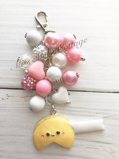 Adorable Fortune Cookie Keychain Accent/Zipper Bag Charm with bead dangle/Purse/can have a special message or name letters max)/backpack by MissMelsCottage on Etsy Craft Jewellery, Jewelry Crafts, Jewelry Ideas, Sunflower Necklace, Tassel Keychain, Book Marks, Chunky Beads, Fortune Cookie, Pocket Letters