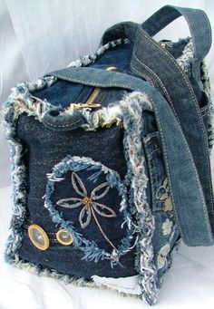 DENIM PATCHWORK SHOULDER BAG от poppypatchwork на Etsy