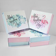 Купить Коробки для Мам, Пап и их детей :) - комбинированный, голубой, розовый, белый, перламутровый