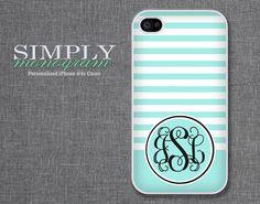 iphone 4 case - plastic or silicone rubber - tiffany blue stripes monogram. $16.99, via Etsy.
