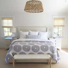 Classic Design Coastal Bedroom with blue and white bedding by John Robshaw. Woven chandelier is by Made Goods.Coastal Bedroom with blue and white bedding by John Robshaw. Woven chandelier is by Made Goods. Coastal Master Bedroom, Coastal Bedrooms, Home Decor Bedroom, Bedroom Ideas, Bedroom Size, Coastal Curtains, Coastal Rugs, Coastal Decor, Luxury Interior Design